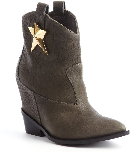 Giuseppe Zanotti grey leather pointed toe star detail wedge heel boots
