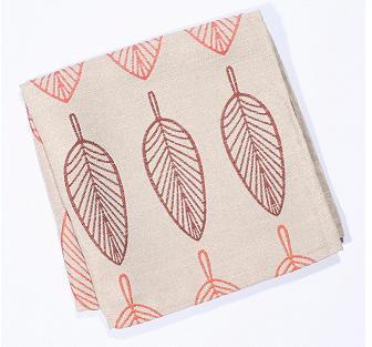 S4 Thro S/4 Embroidered Leaf Napkins, Orange