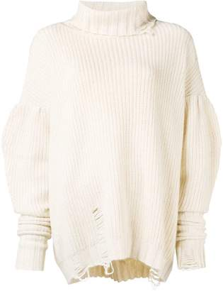 Circus Hotel distressed turtle neck jumper