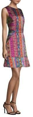 Etro Ribbon Jacqaurd Fit-&-Flare Dress