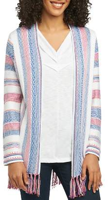 Foxcroft Striped Fringe-Hem Cardigan
