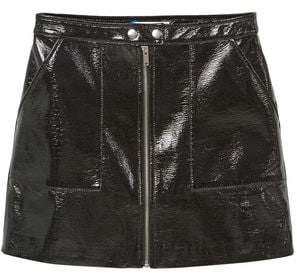 Mango Outlet Zipped patent skirt