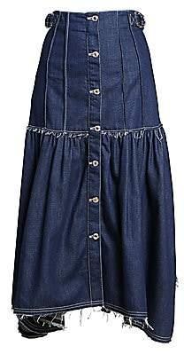 Chloé Women's Pleated Button Front Denim Midi Skirt
