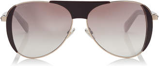 Jimmy Choo RAVE Burgundy and Copper Gold Aviators with Crystal Embedded Spoilers