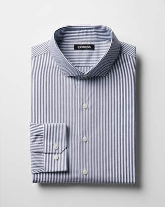 Express Classic Striped Spread Collar Dress Shirt