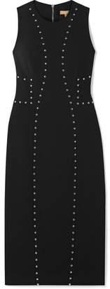 Michael Kors Studded Wool-blend Crepe Dress - Black