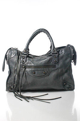 Balenciaga  Balenciaga Dark Leather Double Handle Giant 12 Brass City Shoulder Handbag