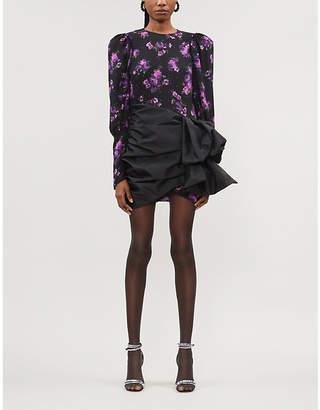 Magda Butrym Matera floral-print taffeta-skirt silk-crepe de chine mini dress