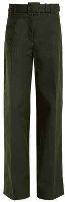 Oscar de la Renta High Rise Wide Leg Cotton Blend Trousers - Womens - Dark Green