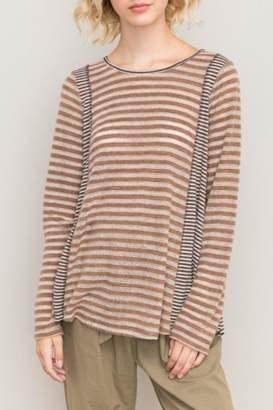 Hem & Thread Oversized Striped Top