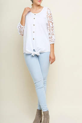 Umgee USA Burnout-Sleeve Button Top