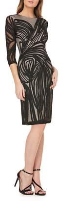 JS Collections Graphic Soutache Sheath Dress