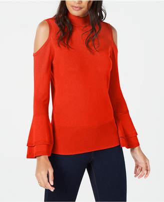 Thalia Sodi Mock-Neck Cold-Shoulder Sweater