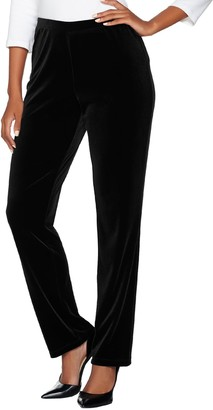 Susan Graver Petite Stretch Velvet Pull-On Pants