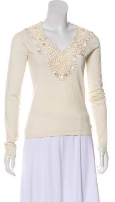 Naeem Khan Beaded Cashmere Sweater
