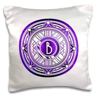 3dRose Letter B Purple Art Deco Monogram - Pillow Case, 16 by 16-inch