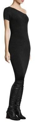 Helmut Lang Velvet One-Shoulder Dress