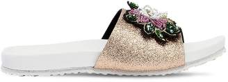 MonnaLisa Glittered Leather Slide Sandals