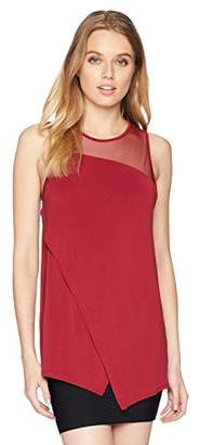 BCBGMAXAZRIA Women's Sleeveless Asymmetrical Mixed Media Top