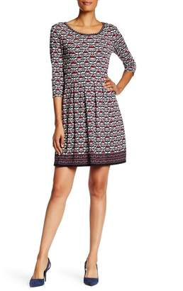 Max Studio 3/4 Length Sleeve Release Pleat Flare Dress