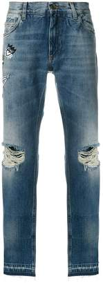 Dolce & Gabbana skeleton king distressed loose fit jeans