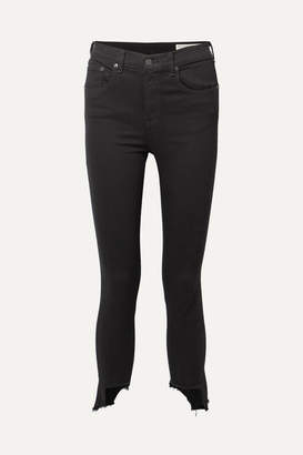 Rag & Bone The Capri Distressed High-rise Skinny Jeans - Black