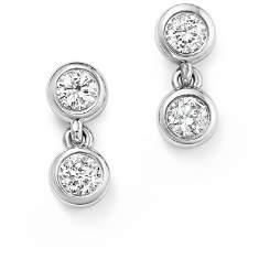 KC Designs 14K White Gold Diamond Double Bezel Earrings