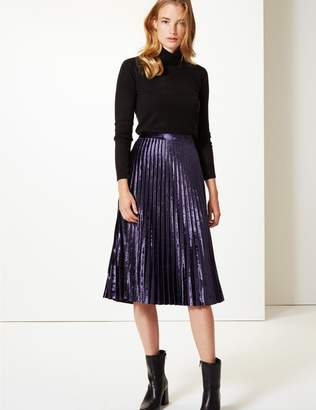 Marks and Spencer Velvet Pleated Midi Skirt
