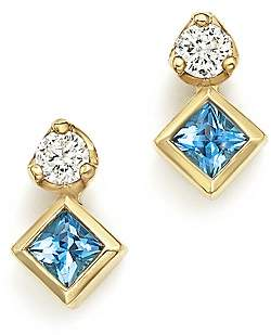 Chicco Zoë 14K Yellow Gold Icon Stud Earrings with Diamond and Aquamarine - 100% Exclusive