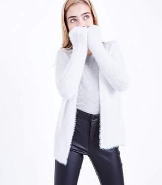 New Look Girls Cream Faux Angora Oversized Cardigan