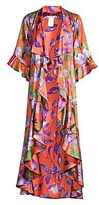 Alice + Olivia Women's Dandi Reversible Leaf Print Ruffle Kimono