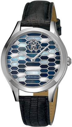 Roberto Cavalli 36mm Scaly Watch w/ Leather Strap, Black/Steel