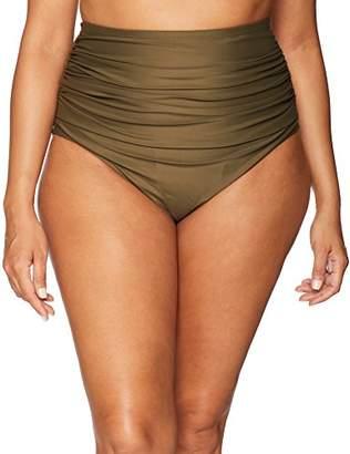 Coastal Blue Women's Plus Size Swimwear Shirred High Waist Bikini Bottom