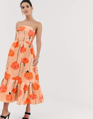Asos Design DESIGN poppy printed bandeau midi dress with ruffle pep hem