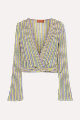 Missoni Cropped Wrap-effect Metallic Striped Crochet-knit Top - Lilac