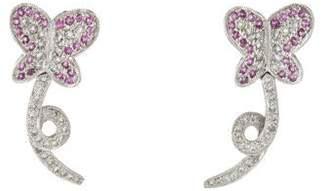 18K Sapphire & Diamond Butterfly Drop Earrings