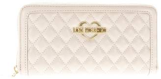 Love Moschino Taupe Faux Leather Quilted Wallet