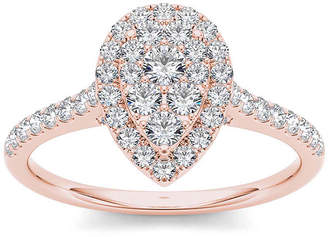 MODERN BRIDE 3/4 CT. T.W. Diamond 10K Rose Gold Pear-Shaped Engagement Ring