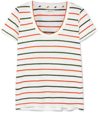 Madewell Striped Linen-blend T-shirt - White