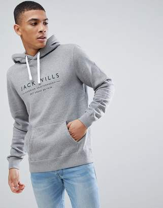 Jack Wills Batsford Graphic Popover Hoodie In Grey Marl Suit 1