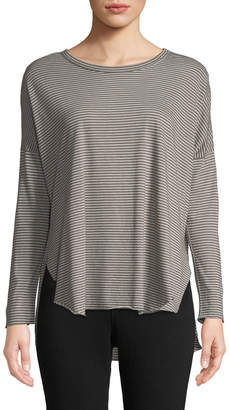 Frank And Eileen Striped Long-Sleeve High-Low Cotton Tee