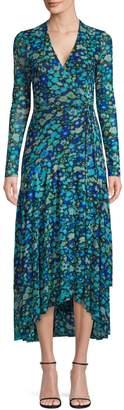 Ganni Floral High-Low Midi Wrap Dress