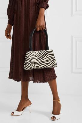 Rixo Dora Leather-trimmed Zebra-print Calf Hair Tote - Black