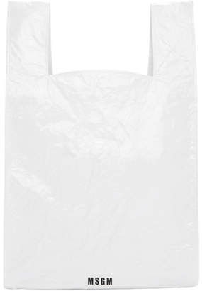 MSGM White Shopping Tote
