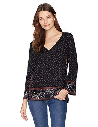 Lucky Brand Women's Mixed Print Peasant Top