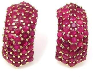 14k Yellow Gold & 5.29ctw Genuine Ruby Cluster Stud Earrings