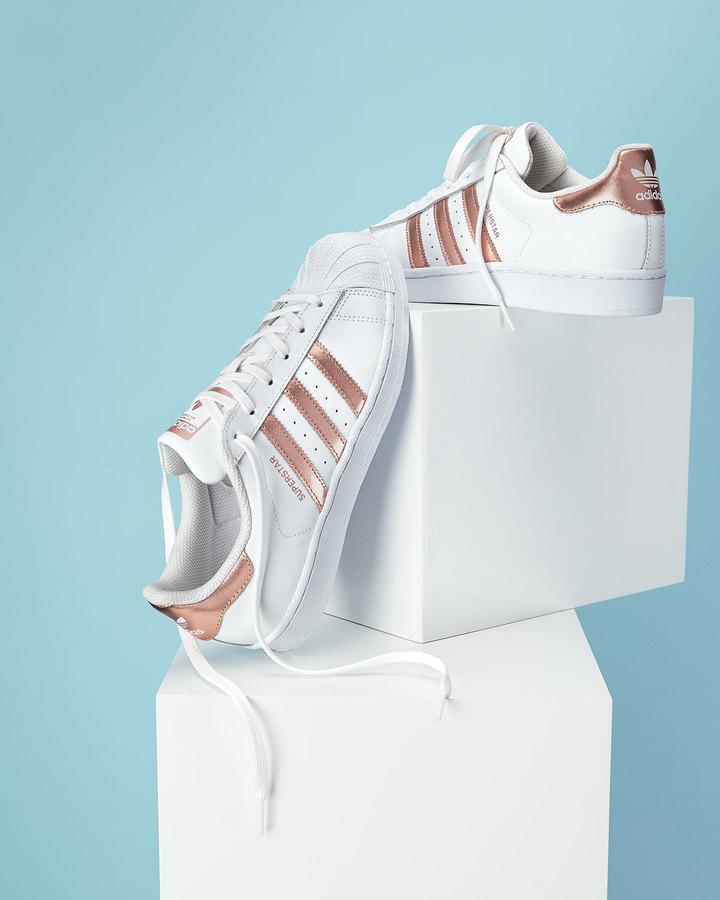 Adidas Superstar Original Fashion Sneaker, White/Rose Gold 6