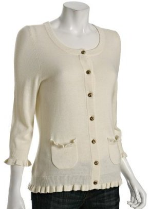 Juicy Couture white wool-cashmere ruffle trim cardigan