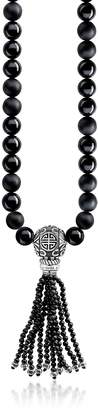 Thomas Sabo Power Necklace Black Sterling Silver Men's Long Necklace w/Obsidian Matt & Polished Beads and Tassel