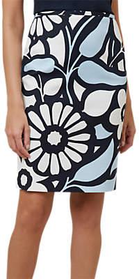 Hobbs Elinor Floral Pencil Skirt, Blue